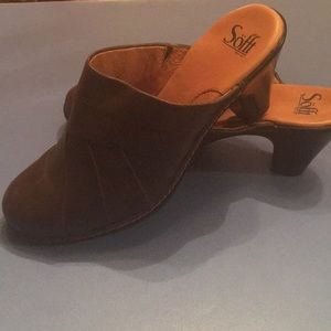 Sofft brown leather mule size 10